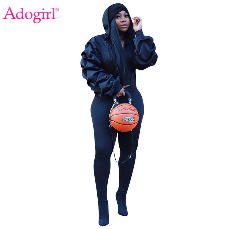 Adogirl Ruched Lantern Long Sleeve Hooded Sweatshirt Casual Pants Women Tracksuit Fashion Casual Two Piece Set Athleisure Suit