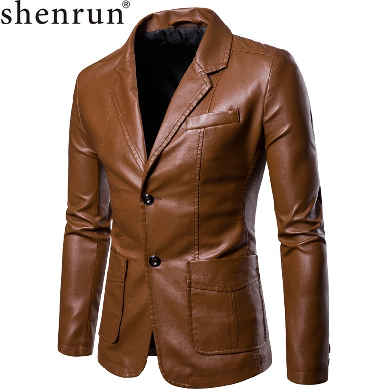 Shenrun Men Leather Jacket PU Leather Blazer Black Wine Red Yellow Brown Autumn Winter Suit Jackets Fashion Youth Casual Blazers