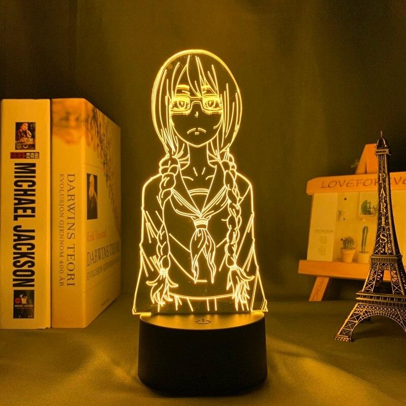 Hdc93d92f2acc483e8c47925e82eab58dU Luminária Saki yoshida conduziu a luz da noite para o quarto decoração presente nightlight anime lâmpada de mesa 3d saki yoshida