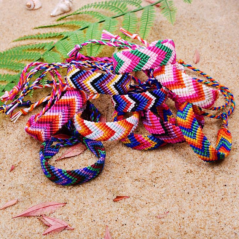 """Friendship Bracelet for Kids Women Surfer Handmade Adjustable Woven Thread 6/"""""""