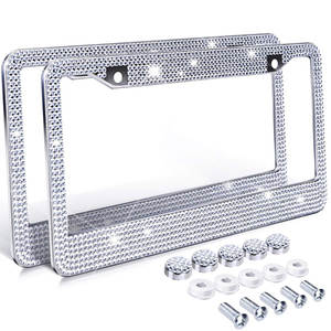 Bling Crystal License Plate Frame Women Luxury Handcrafted Rhinestone Car Frame Plate with Ignition Button