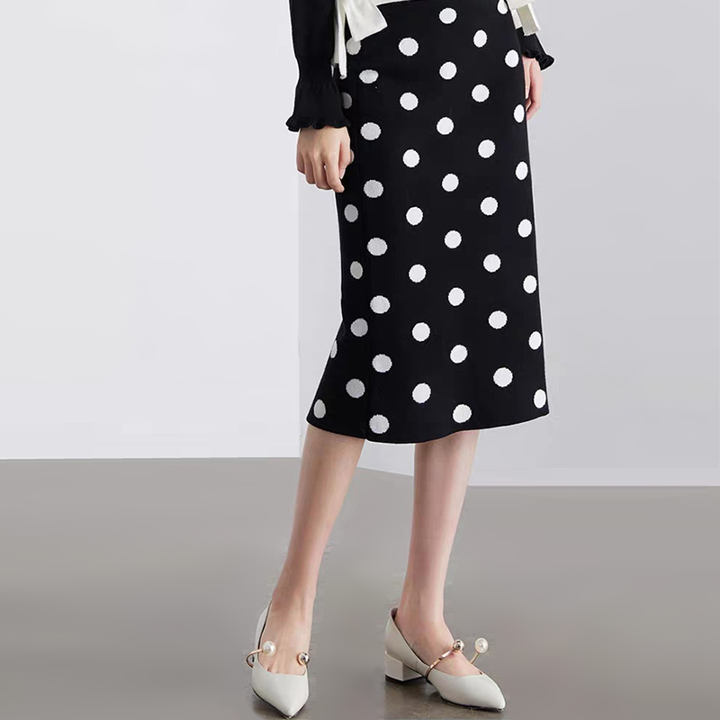 Spring Fall Winter Retro White Polka Dot Black Skirt Office Lady Work High Street England Preppy Style Elastic Waist Knit Skirts