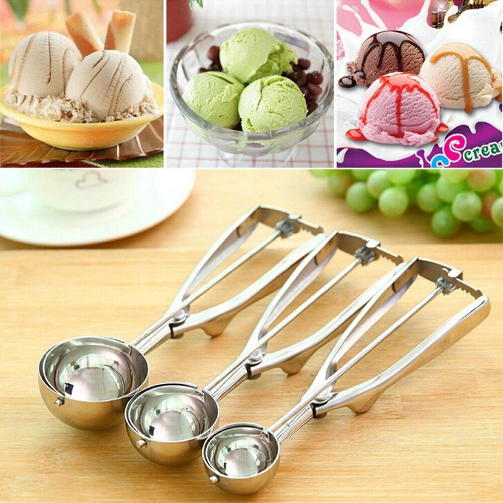 4cm/5cm/6cm Ice Cream Spoon Tools Scoop Potato Scoop Spoon Stainless Steel Ice Cream Ball Maker Tools Kitchen Accessories
