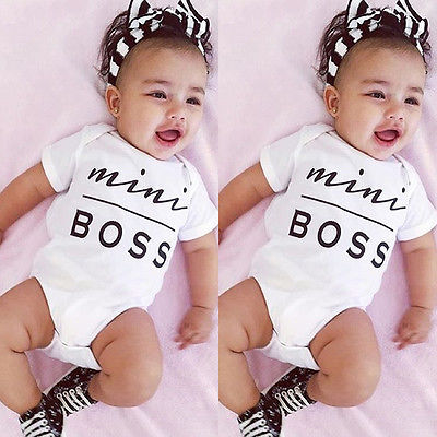 Baby Romper Newborn Kids Infant  Baby Boy Girl Clothes Cotton Short Sleeve Mini Boss Printed Jumpsuit Outfit 3-18 Months 1