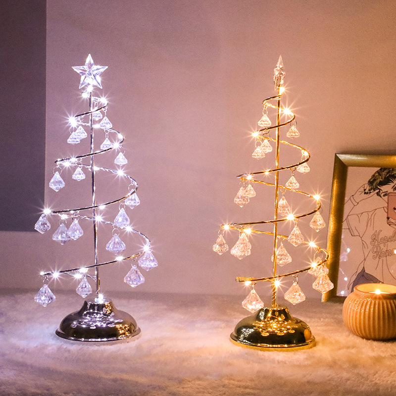 1PC Crystal Christmas Tree Mini Table Lamp Bedroom LED Night Light Winter Home Living Room Study Decor Ambient Lighting Supplies