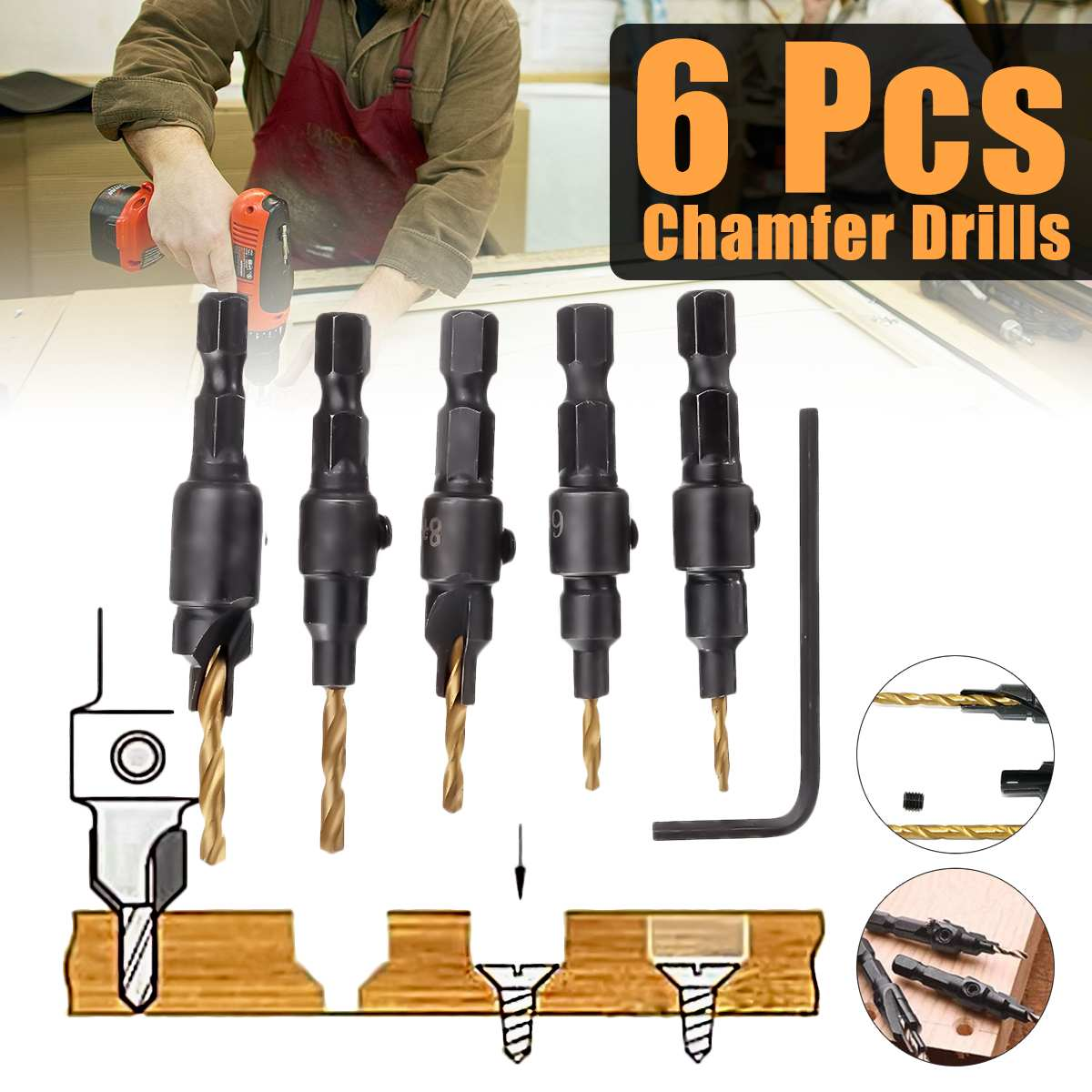 5 Pcs HSS Chamfer Drill Bit Set Countersink Drilling Pilot Hole Woodworking Tool Chamfer Counter Sink Drill Bit With Wrench