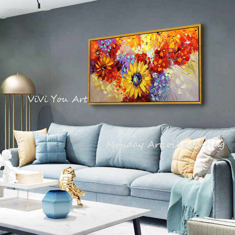 100-Hand-Painted-Abstract-Sunflowers-Oil-Painting-On-Canvas-Wall-Art-Wall-Adornment-Pictures-Painting-For (3)