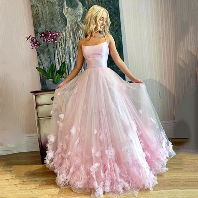 Elegant Pink Sweet 16 Prom Dress Tulle Spaghetti Straps 3D Flowers Lace Tulle Ball Gown Evening Dress Women Formal Party Gowns