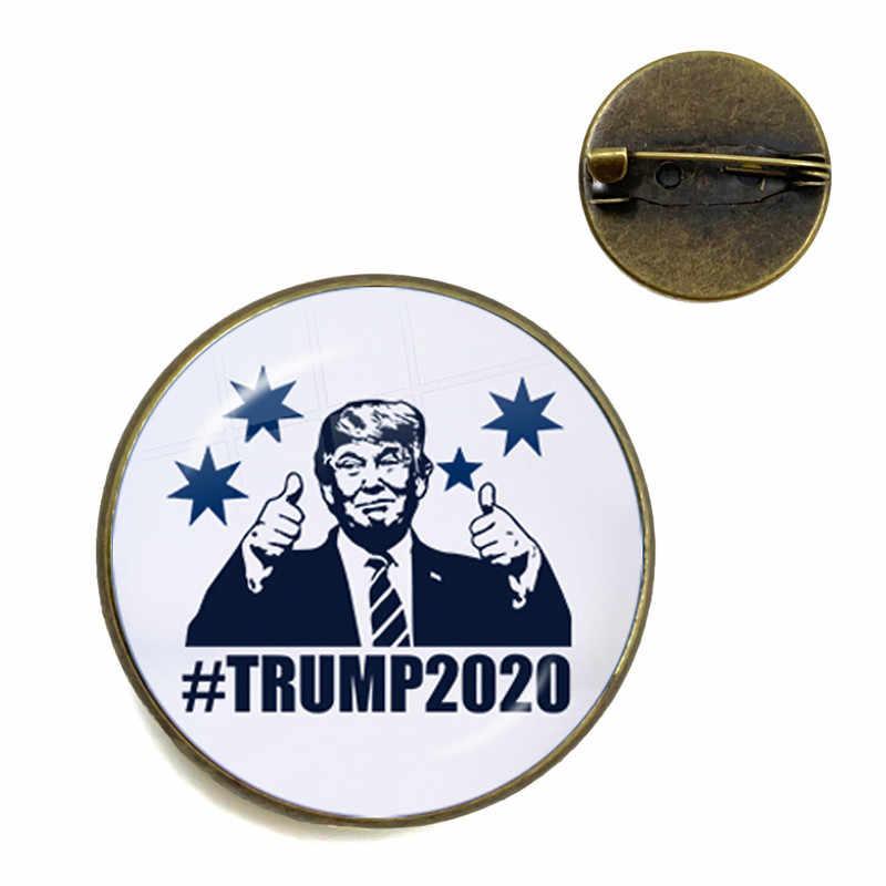 Mantenere In America Grande 2020 USA Trump Collection di Vetro Cabochon Spille Bronzo Antico Spilli Per Le Donne Degli Uomini Del Collare Supporto Trump