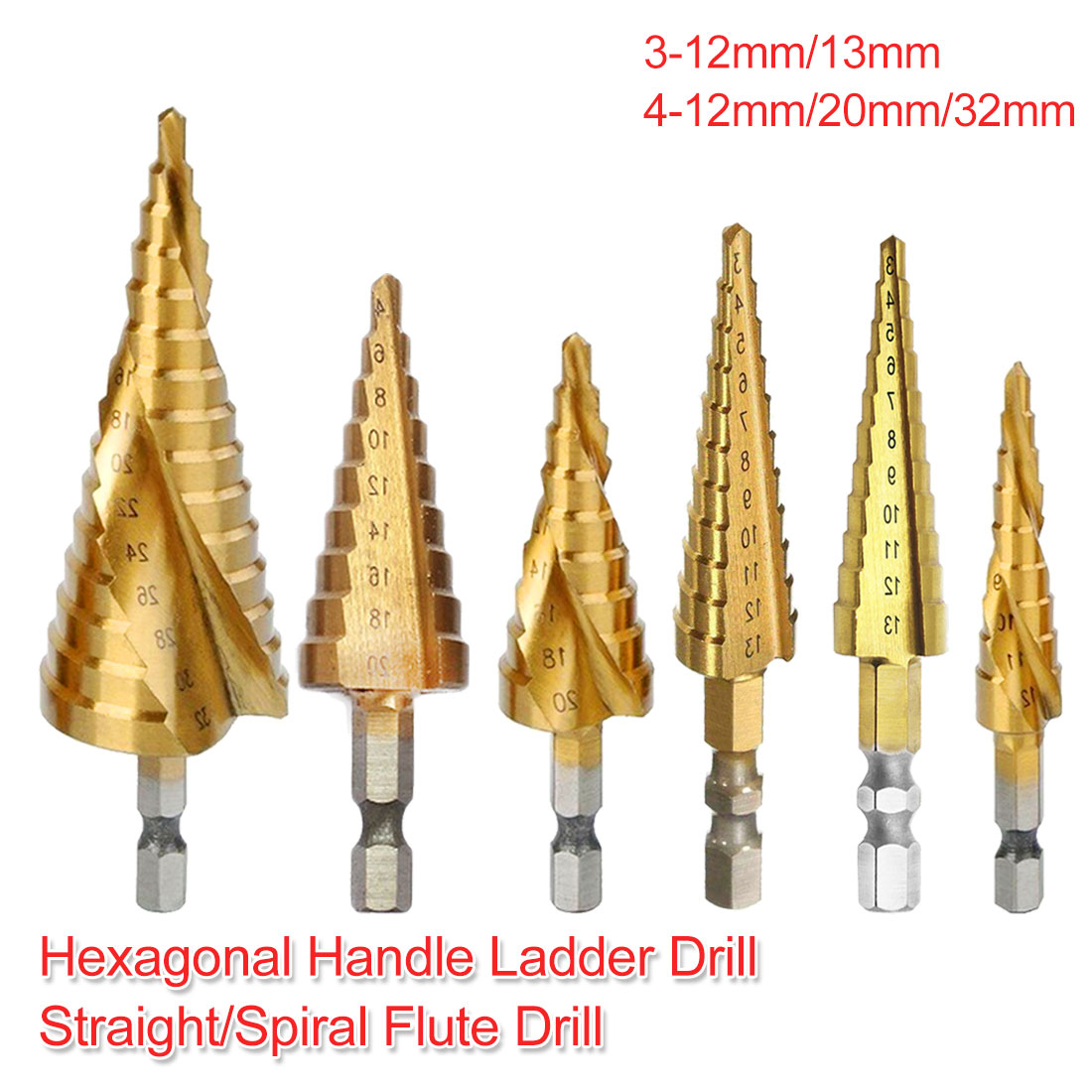 Step Drill 4-12mm/20mm/32mm 3-12mm/13mm HSS Titanium Coated Pagoda ShapeHex Shank Straight/Spiral Flute Drill For Wood/Metal