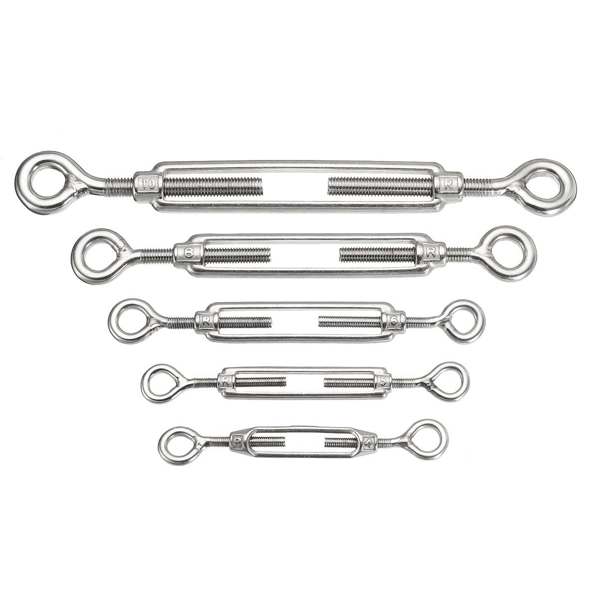 M4/10 304 Stainless Steel Turn Buckle Stainless Steel Eye/Eye Turn Buckle Wire Rope Tensioner Steel <font><b>Turnbuckle</b></font> Accessories image