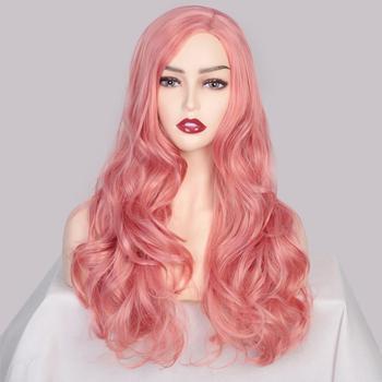 SUe wykwintne peruki syntetyczne dla kobiet różowe długie faliste częściowe syntetyczne peruki damskie naturalną linią włosów pełne peruki tanie i dobre opinie SUe EXQUISITE Wysokiej Temperatury Włókna long Falista 1 sztuka tylko Średnia wielkość