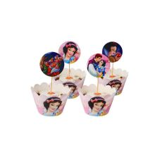 24 pcs Disney Six Princess Cartoon Kids Birthday Party Cupcake Wrappers & Toppers Snow White Christmas Cake Decorations Supplies