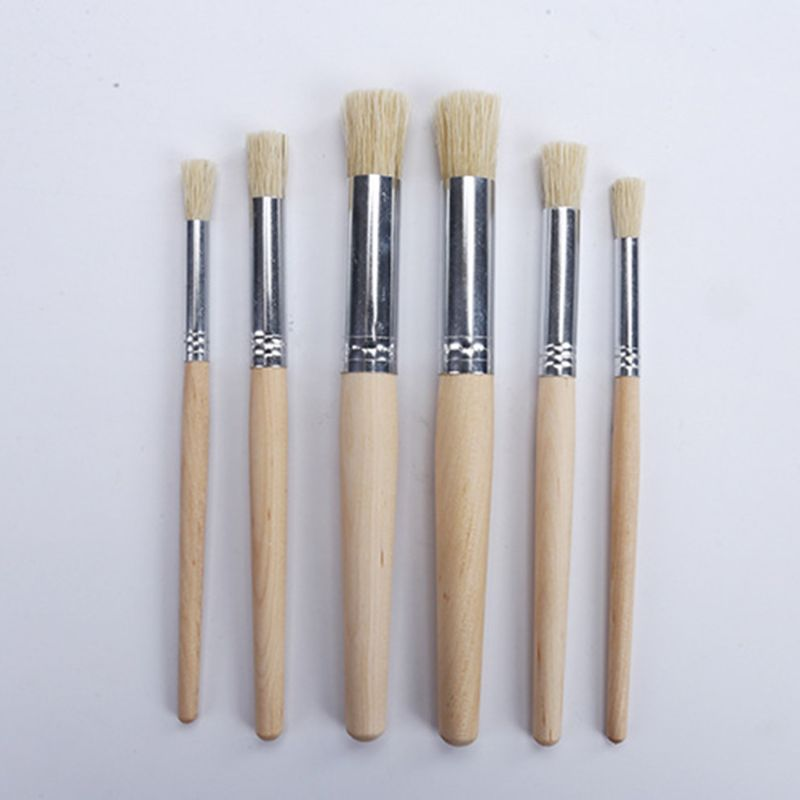 6pcs/set Watercolor Acrylic Painting Stencil Brush Different Size Wooden Handle R9UA