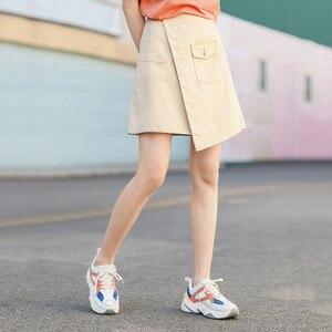 Image 4 - INMAN 2020 Summer New Arrival Literary Pure Cotton Irregular High Waist Pure Color Temperament A line Skirt
