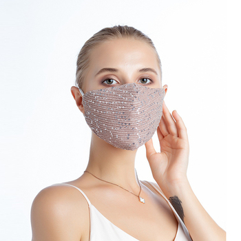 mascarilla masque Fashion Sequin Mask Washable Reusable Dust Proof Mouth Face Mask with 10/20pcs PM2.5 Filter masker