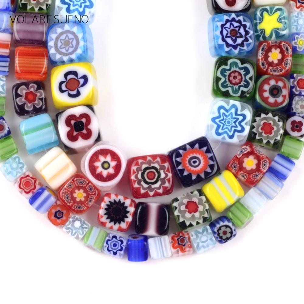 """Millefiori Flower Mix Color Square Shape Flat Lampwork Glass Beads For Jewelry Making 4/6/8mm Spacer Loose Beads Diy Craft 15""""(China)"""
