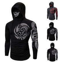 Men's T-shirt Stretch Fitness Male Ninja Hooded Long Sleeve Tattoo Mask T-shirt