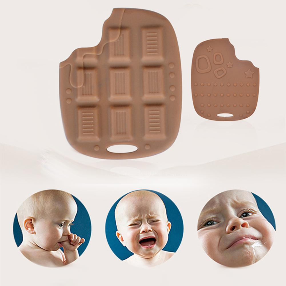 Silicone Chocolate Biscuits Shape Baby Teether Tool Infant Biting Teething Toy Baby Teether Silicone Safe And Non-Toxic Molars