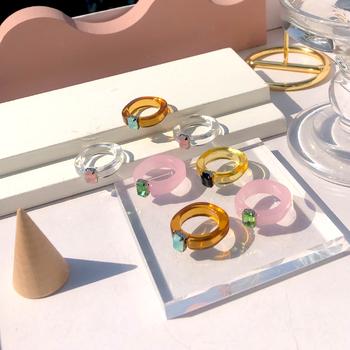 HUANZHI 2020 nowy przezroczysty akrylowy kolorowy prostokąt Rhinestone minimalistyczny geometria pierścienie dla kobiet biżuteria dziewczęca tanie i dobre opinie CN (pochodzenie) Ze stopu aluminium Kobiety Metal TRENDY Pierścień pokazowy ROUND Zgodna ze wszystkimi Poprawiające nastrój