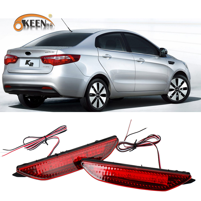2Pcs For Kia Rio K2 Sedan 2011 2012 2013 2014 Led Rear Bumper Reflector Car Tail Light Fog Lamp Braking Driving Car Accessories