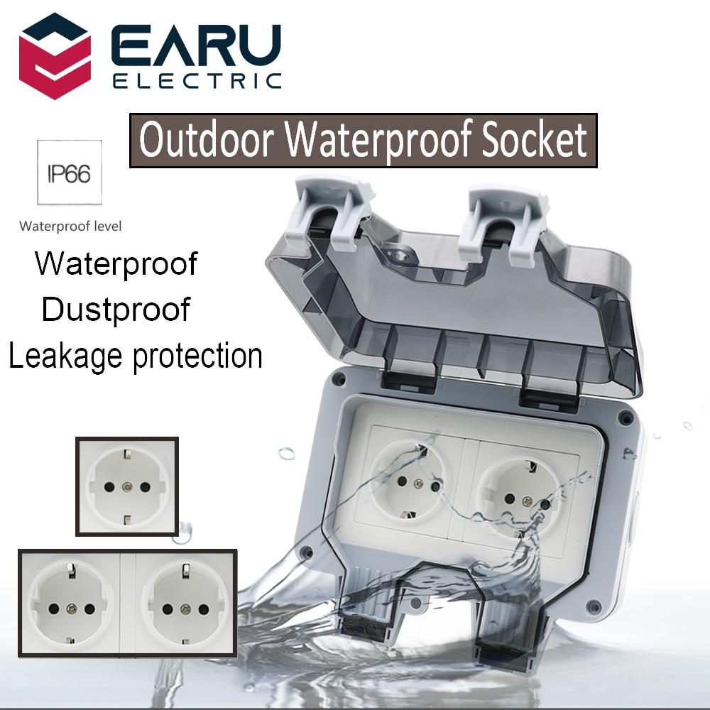 German DE EU Standard IP66 16A AC250V Weatherproof Waterproof Outdoor Wall Power Socket Box Electrical Outlet for Charging Pile