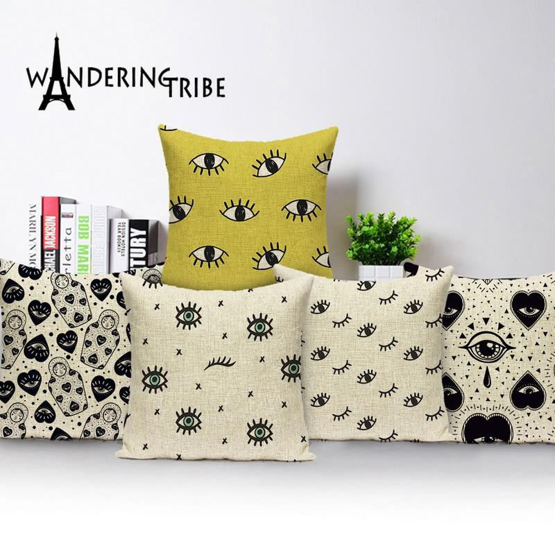 New Simple Geometric Eye Cushion Covers Black Love Eye Linen Home Decoration Car Sofa Throw Pillow Cover Capa De Almofada Case