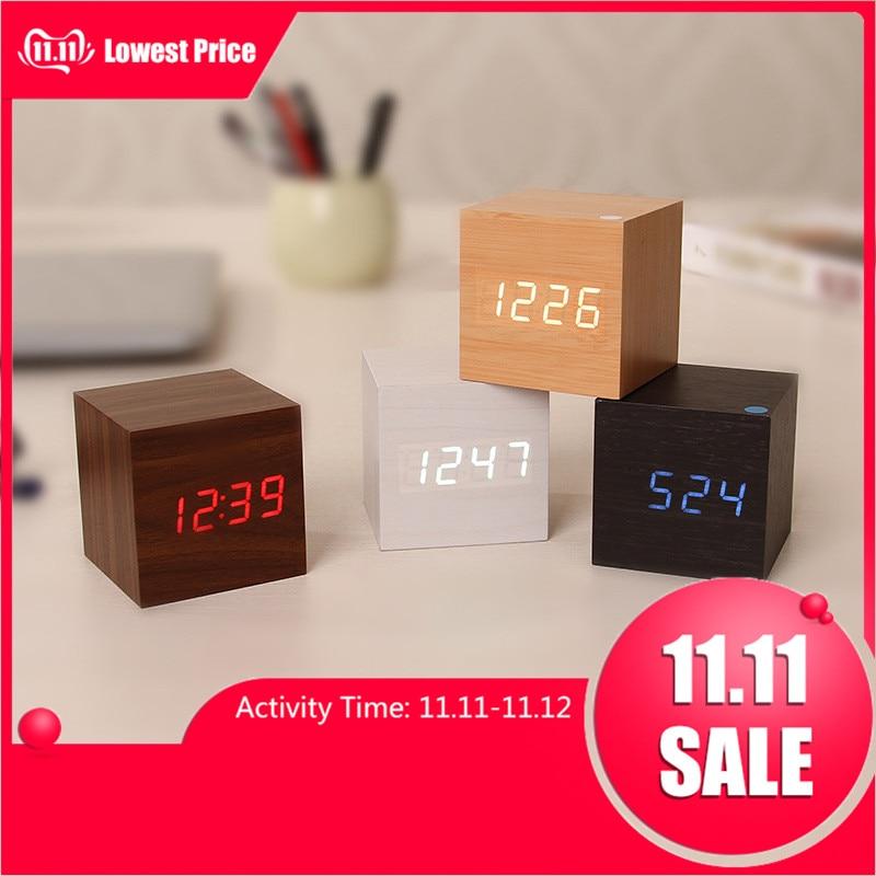 Multicolor Sound Control Wooden Wood Square LED Alarm <font>