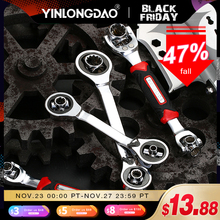 Llave de trinquete que funciona con pernos Spline Torx, 360 grados, 52 en 1, llave universal para reparación de automóviles, herramientas de mano