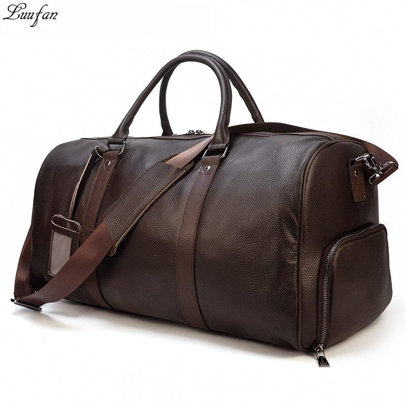 Bolsas de viaje de cuero genuino de gran capacidad para hombres y mujeres, bolso de hombro de cuero suave y negro para viaje-in Bolsas de viaje from Maletas y bolsas    1