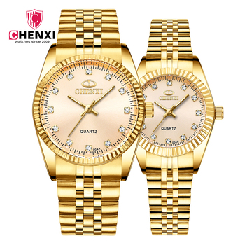 CHENXI Luxury Golden Couple Watch Fashion Stainless Steel Lovers Watch Quartz Gift Watches For Women And Men dress Wristwatch couple watches for lovers luxury wood watch mens fashion wooden women dress clocks gifts for valentine s day relogio de casal