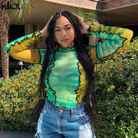 Kliou 2019 neue Atmungsaktive frauen druck t-shirt mesh material rüschen rollkragen volle hülse crop top weibliche sexy Slim fit tops