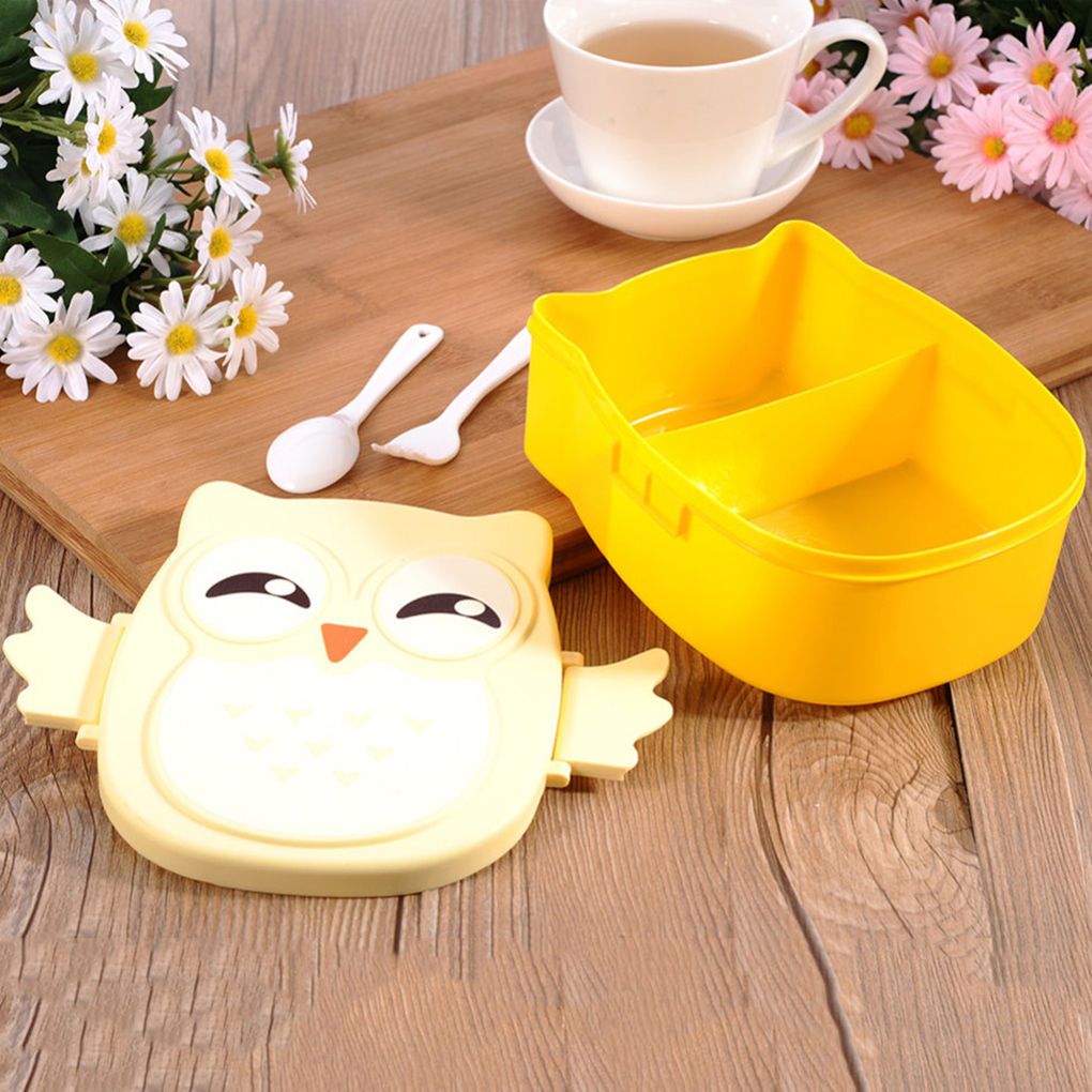 Cute Cartoon Owl <font><b>Lunch</b></font> <font><b>Box</b></font> <font><b>Food</b></font> <font><b>Container</b></font> Storage <font><b>Box</b></font> Portable Kids Student <font><b>Lunch</b></font> <font><b>Box</b></font> Bento <font><b>Box</b></font> <font><b>Container</b></font> With Compartments Case image