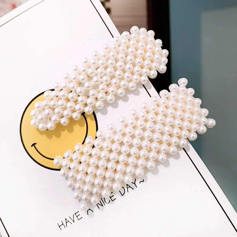 Women Pearl Hair Clips Imitation Beads Barrette Handmade Pearl Flower Stick Hairpin For Girls Hair Jewelry Accessories F247 in Hair Jewelry from Jewelry Accessories