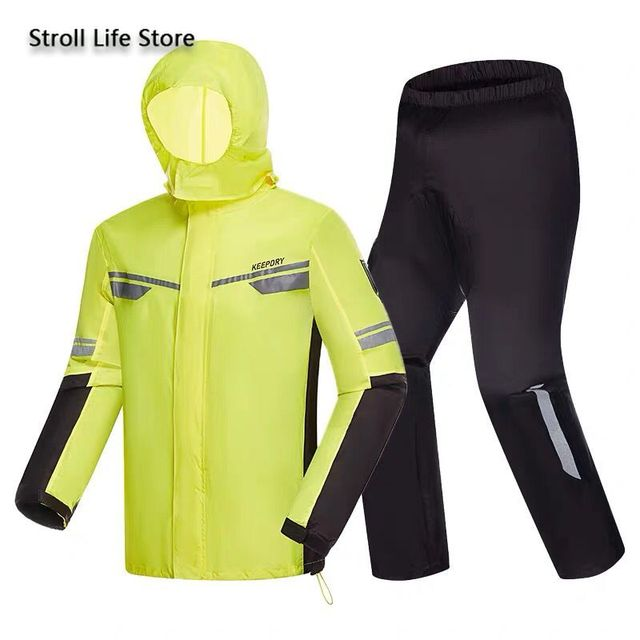 Waterproof Suit Rain Coat Women Men Motorcycle Raincoat Adult Split Reflective Thin Yellow Rain PantsPoncho Impermeable Gift