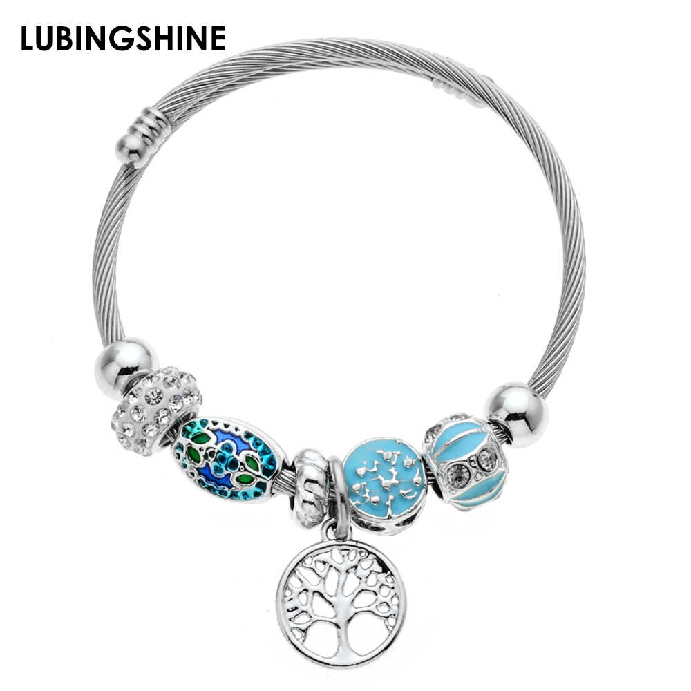 Fashion Crystal Disco Ball Charms Bracelets Bangles Stainless Steel Tree of Life Pendant Adjustable Bracelet Jewelry for Women