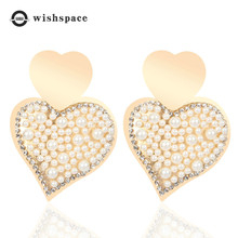 Color preserving electroplating fashion imitation pearl woman earrings classic peach heart pendant classic heart pendant
