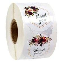 Autocollant série merci fleur, étiquette autocollante ronde multifonction, pour emballage de cadeaux, pour pâtisserie, DIY, 50-500 pièces
