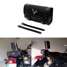 цена на Universal Black Motorcycle Bag PU Leather Storage Saddle Bags Motorbike Side Tool Bag For Harley Softail Sportster Saddlebag