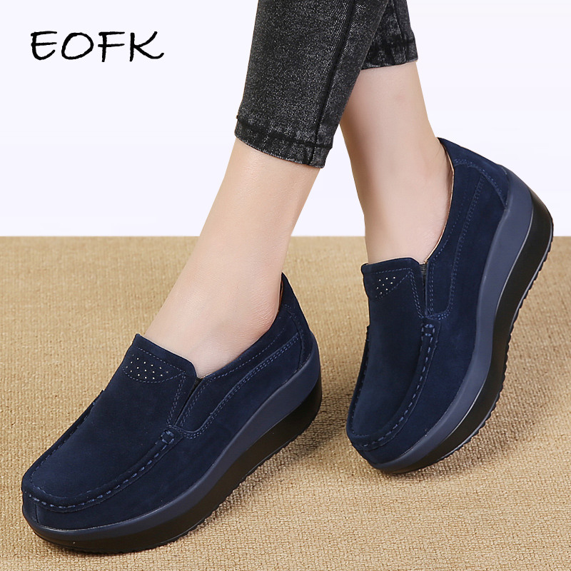 EOFK Women Flats Platform Loafers Ladies Elegant Genuine Leather Moccasins Shoes Woman Autumn Slip On Casual