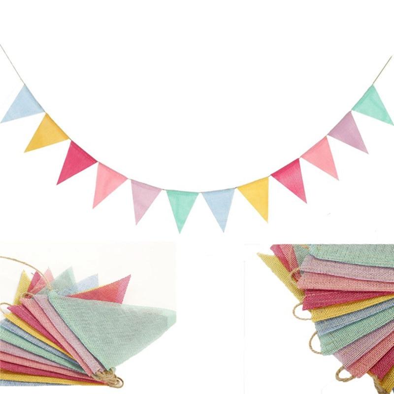 4 м красочные джутовые льняные флаги, баннеры на день рождения, настенные подвесные Свадебные баннеры, вечерние гирлянды для домашнего деко...