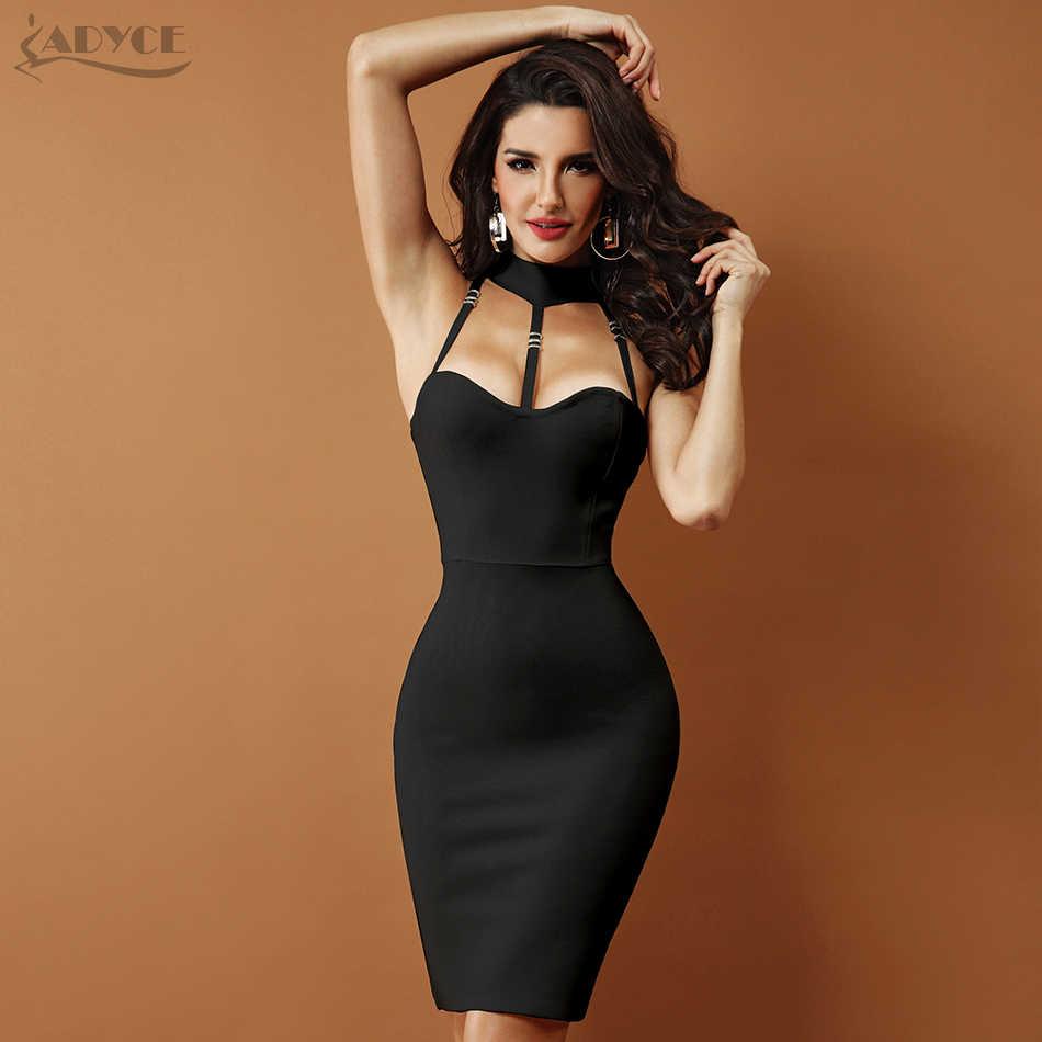 Adyce 2019 חדש קיץ לבן תחבושת שמלה שחור ללא שרוולים הלטר הולו מתוך נשים סלבריטאים ערב המפלגה מועדון שמלות Vestidos