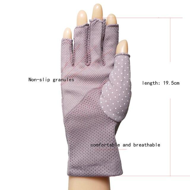 Women's Cotton Summer Gloves Fingerless Half Finger Anti-Skid Sun Protection Printing Thin Dot Short Driving Gloves 3
