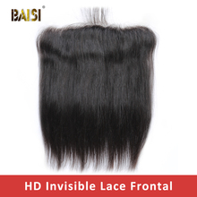 BAISI HD Lace Frontal Brazilian Straight Virgin Hair 13x4 Pre Pluck Hairline With Baby Hair Body Wave Transparent Lace Frontal