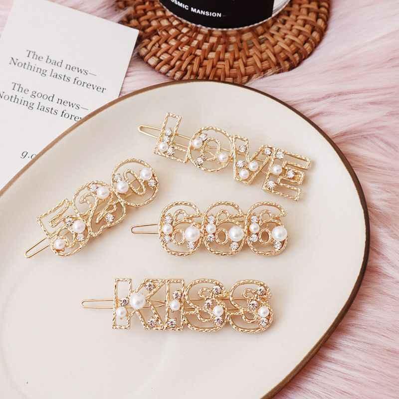1 Uds hueca números letras clip de perla para el cabello oro Rhinestone imitación horquillas carta modelado horquillas