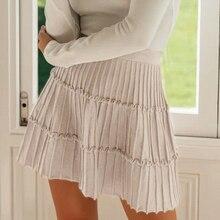 Sollinarry 2019 Knitwear Short Skirts Women Autumn Retro Solid Casual Ruffles Mini Skirts Female High Waist Winter Sexy Skirts