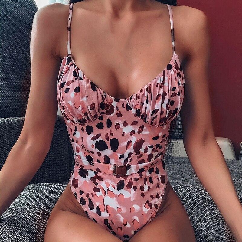 String V-Neck Bikinis 2020 Mujer Swimsuit Fused Female Leopard Bodysuits One Piece Swimwear Women High Cut Belt