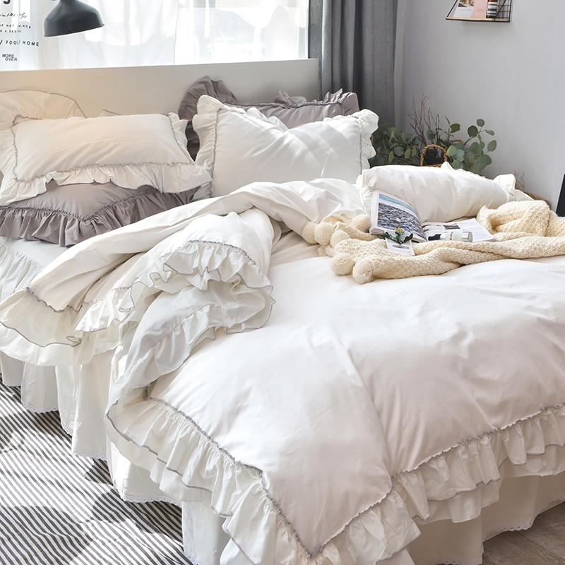 White Ruffle Bettwäsche-Sets 100% Baumwolle 4pcs Prinzessin - Haustextilien