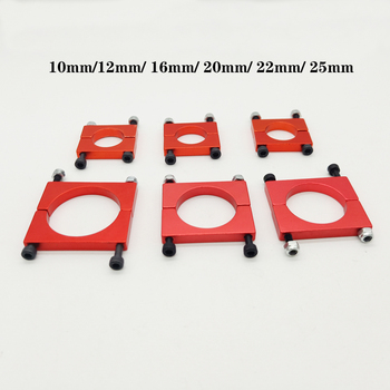 10mm12mm/ 16mm/ 20mm/ 22mm/ 25mm Red CNC Aluminium Tube Clamp Motor Mount Fixture Clip Holder for Multi-axis Fixed-wing Aircraft tarot dia 16mm multi axle clamping motor mount plate tl68b25 black tl68b26 red for hexacopter quadcopter multicopter f06834 a