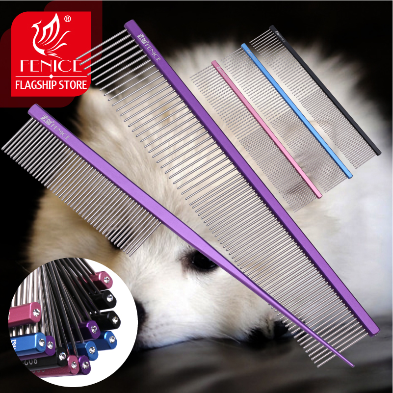 Fenice Pet Grooming Comb for Dog Metal Tail Comb Cat Animals Groomer Tools Blue/Purple/Pink/Black Comb for Groomer Stylist